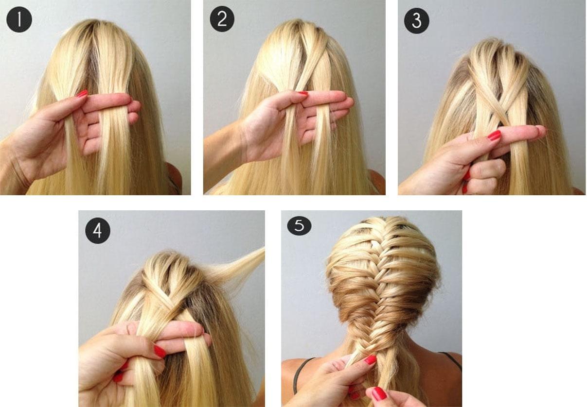 Bạn cũng có thể tết tóc xương cá theo 5 bước như ảnh