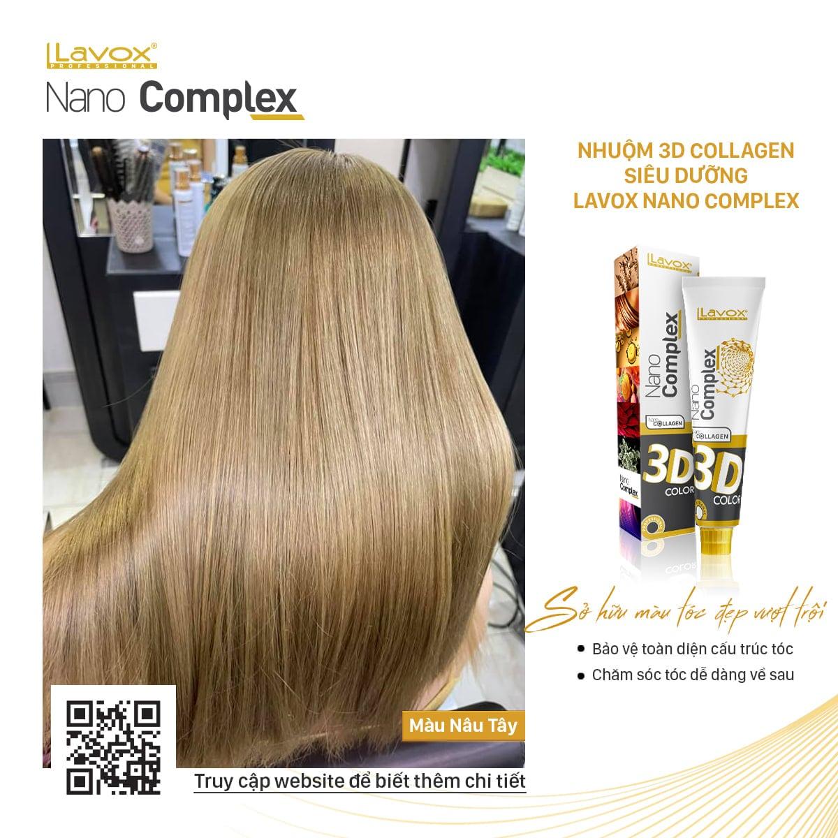 Nhuộm 3D Collagen siêu dưỡng Lavox Nano Complex lựa chọn cho mái tóc chuẩn màu