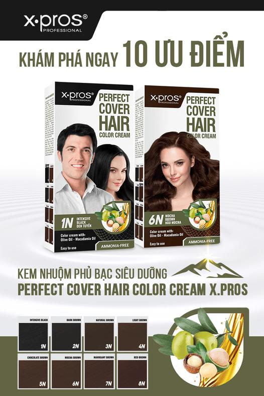 Kem nhuộm an toàn cho mẹ bầu - Perfect Cover Hair Color Cream X.Pros