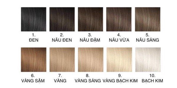 Có 10 mức độ tẩy tóc như trên