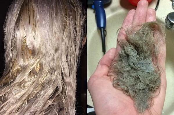 Tóc yếu trong quá trình nhuộm tóc sẽ không tránh khỏi tóc gãy rụng nhiều